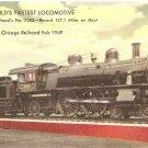 World's Fastest Locomotive Pennsylvania Railroad 7002 1949 vintage postcard