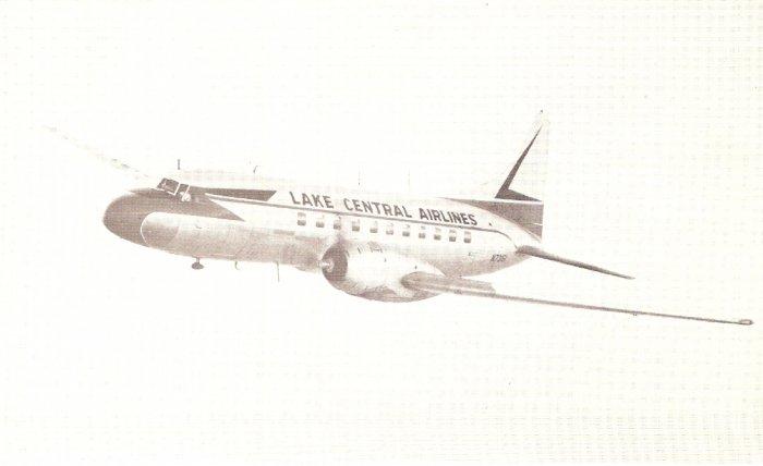 Lake Central Airlines vintage postcard