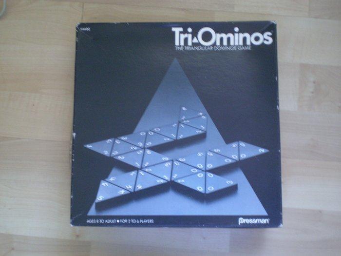 Tri-Ominos Triangular Dominoe Game Pressman 4420 1985