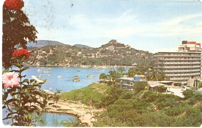 Panoramic Yacht Club and Hotel Fishing Club postcard Acapulco Mexico