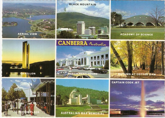 Canberra 9 Highlights Capital Australia postcard