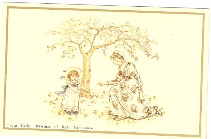 Girl and Mother under Tree Kate Greenaway Merrimack Publishing 1798S postcard