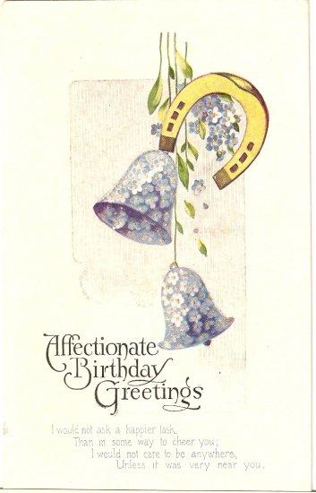 Birthday Greetings vintage postcard Blue Bells Flower Horseshoe
