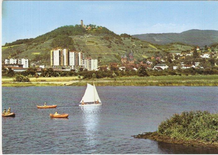 Heppenheim Staatl Germany lake sailboat boat postcard