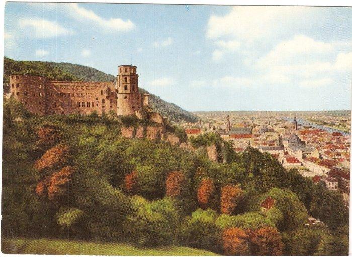 Heidelberg Blick von der Scheffelterrasse vintage postcard Farbaufnahme