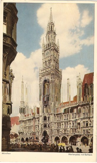 Munich City Hall Germany Munchen vintage postcard