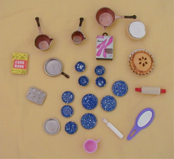 Lot doll miniature food utensils metal plastic pie pots