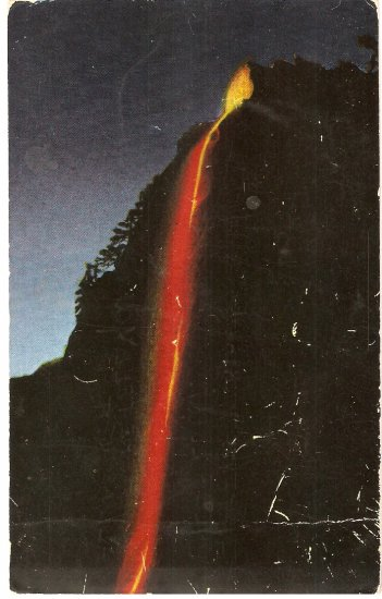 Yosemite National Park CA Fire Fall Glacier Point vintage postcard