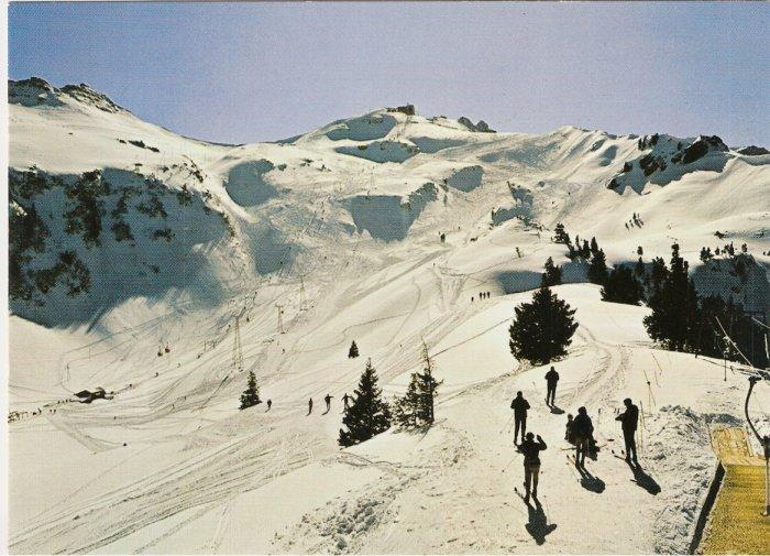 Flumserberg Abfahrt Maschgachamm Skiing Mountains Germany vintage postcard