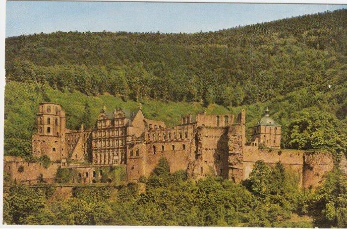 Heidelberg Castle Germany hills vintage postcard