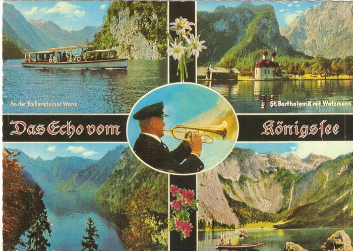 Das Echo vom Konigsee St Bartholoma Falkensteiner Wand Germany vintage postcard