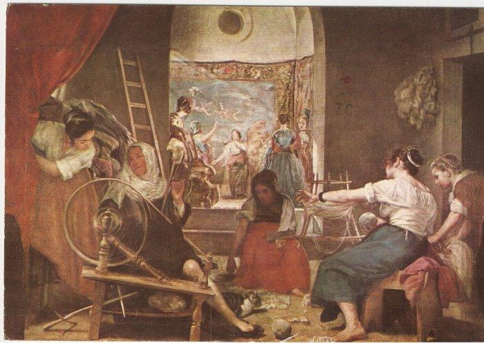 Museo del Prado Spain Women Spinners Velazquez vintage postcard