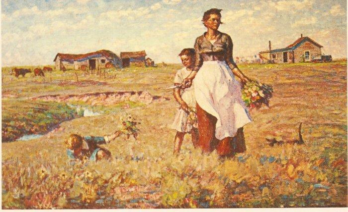 This Prairie Is My Garden Harvey Dunn vintage postcard