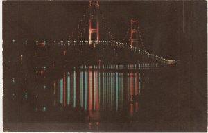 Mackinac Bridge Lower Michigan Suspension vintage postcard