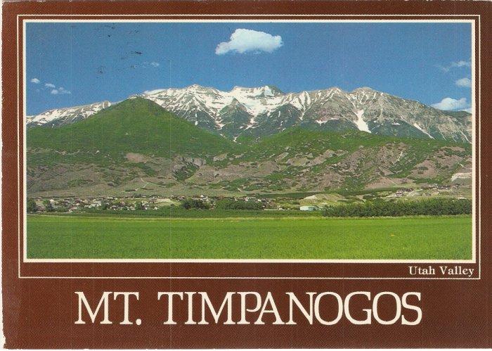 Mt Timpanogos Utah Valley Wasatch Mountains vintage postcard