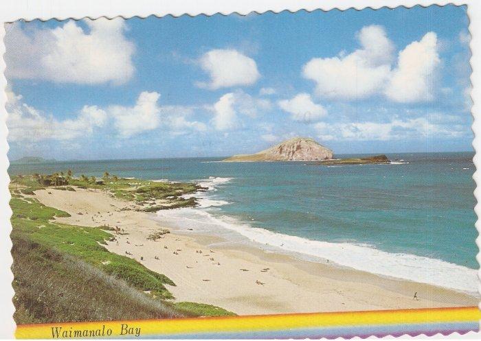 Waimanalo Bay Hawaii Rabbit Island vintage postcard