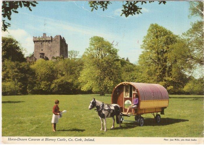 Blarney Castle Horse-Drawn Caravan Cork Ireland vintage postcard