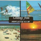Newcastle NSW Australia surfing board riding fishing vintage postcard