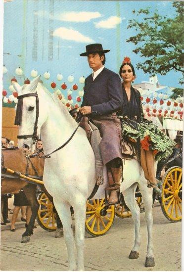 Sevilla April Fair Spain vintage postcard Senor Senora Horse