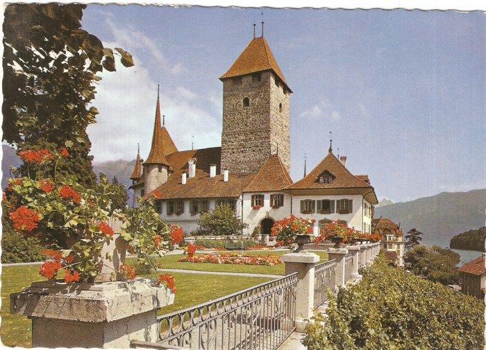 Lake Thun, Castle of Spiez Switzerland vintage postcard