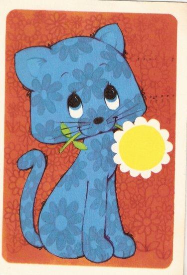 Hallmark 1971 blue cat  vintage postcard