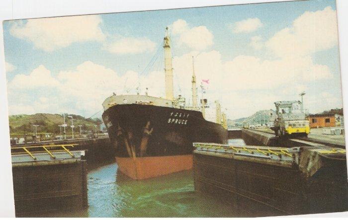 Panama Canal Cargo Ship Miraflores Locks vintage postcard