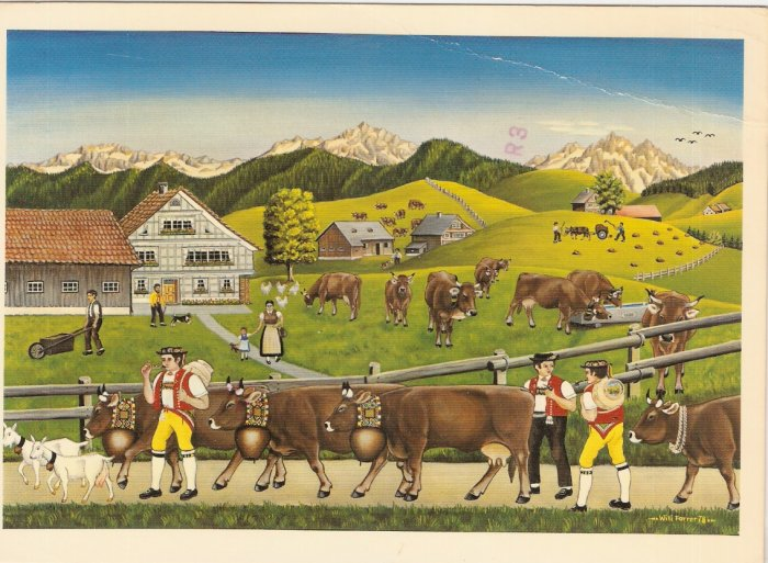 Willi Forrer Farmer Toggenburg Switzerland vintage postcard