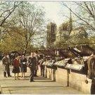 Notre Dame Paris book stores vintage postcard