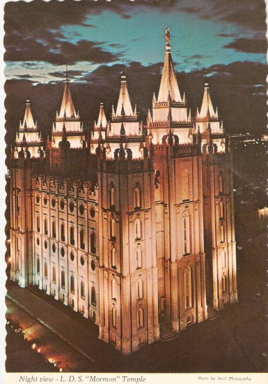 LDS Mormon Temple Salt Lake City Utah vintage postcard Latter Day Saints