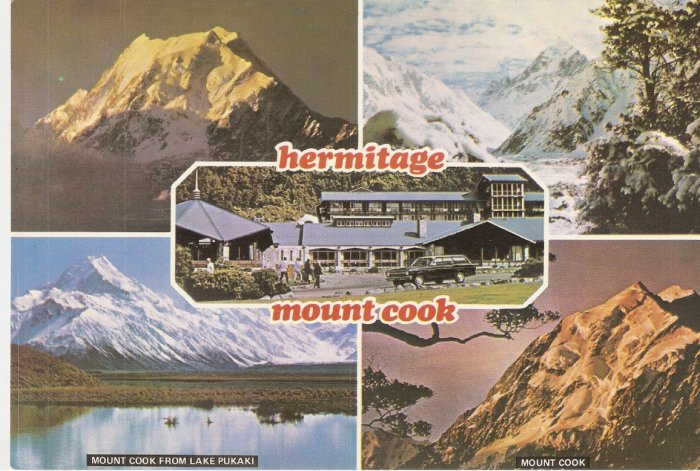 Hermitage Mount Cook Lake Pukaki New Zealand vintage postcard
