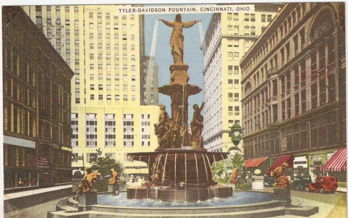 Tyler-Davidson Fountain Cincinnati Ohio OH vintage postcard