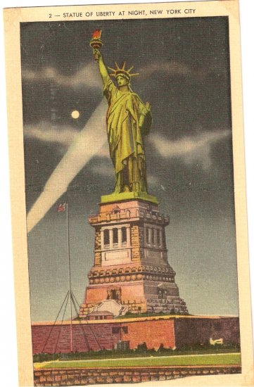 Statue of Liberty Night New York City NY vintage postcard