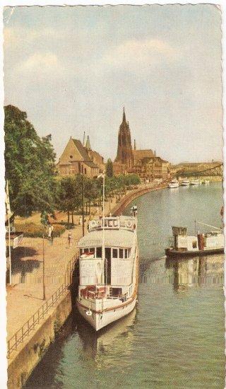 Frankfurt am Main Mainpromenade Rhine River vintage postcard