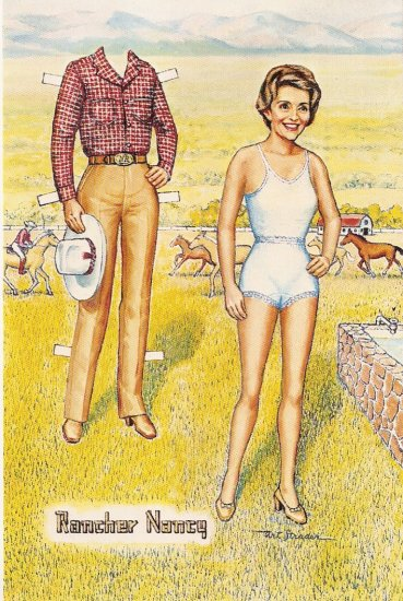 Nancy Reagan Rancher paper doll postcard