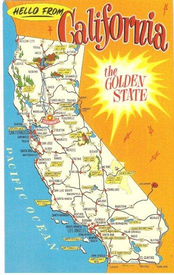 California Golden State map vintage postcard
