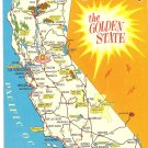 California Golden State map vintage postcard