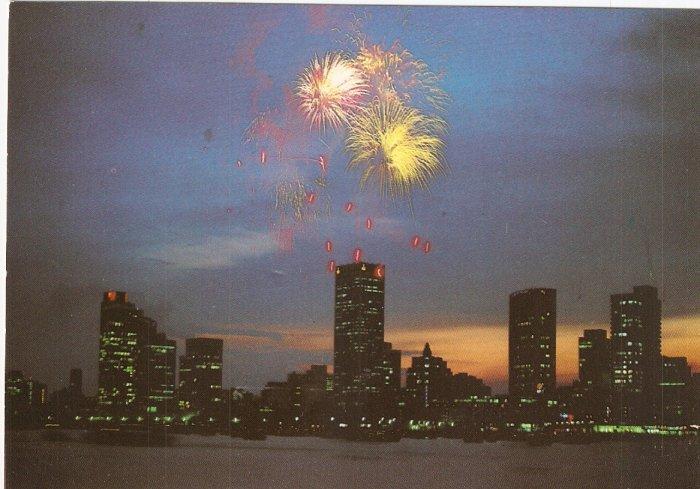 Night View Singapore Waterfront buildings postcard