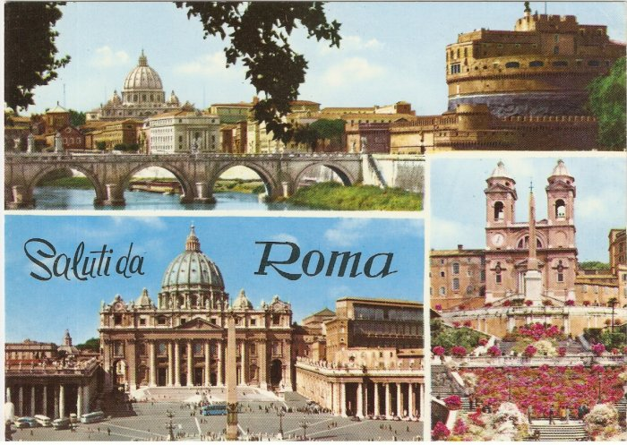Roma Rome Italy salutida 4 scenes vintage postcard