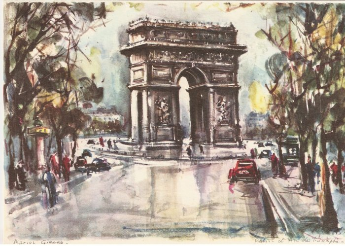 Marius Girard Paris l'Arc de Triomphe painting vintage postcard