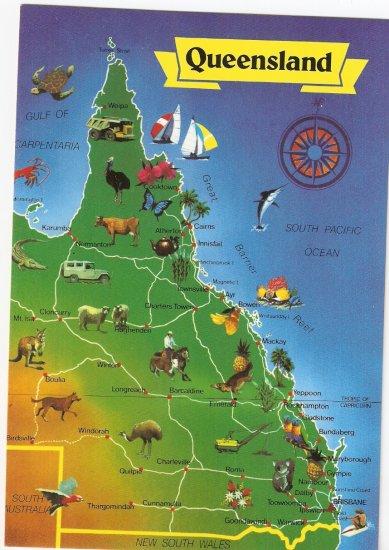 Queensland Australia map vintage postcard