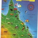 Queensland Australia map vintage postcard