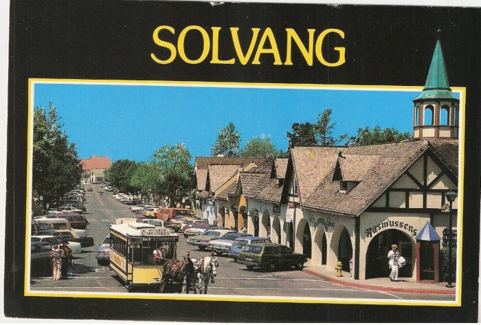 Solvang  Horse Drawn Trolley Danish town California vintage postcard