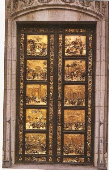 Grace Cathedral San Francisco CA Ghiberti Doors vintage postcard