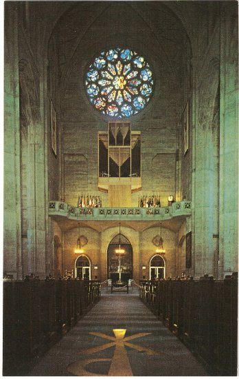 Grace Cathedral San Francisco CA Great Rose Window Gallery Organ vintage postcard