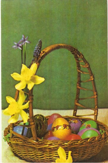 Easter Basket Eggs Hungarian? postcard 1983