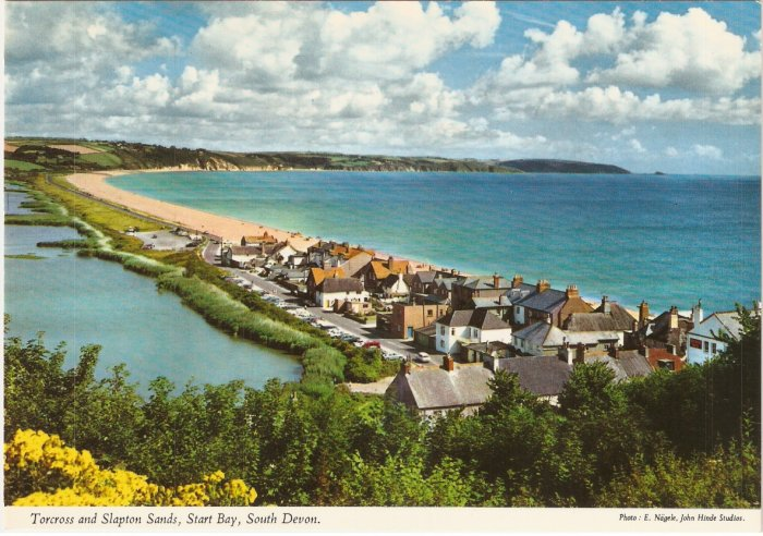 Torcross Slapton Sands Start Bay South Devon England vintage postcard