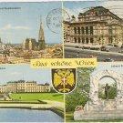 Vienna Das Schone Wien Belvedere Denkmal Staatsoper vintage postcard