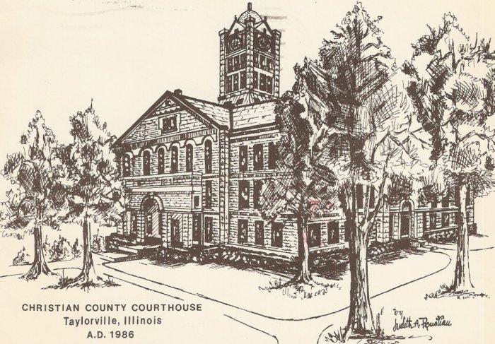 Christian County Courthouse Taylorville Illinois 1986 postcard