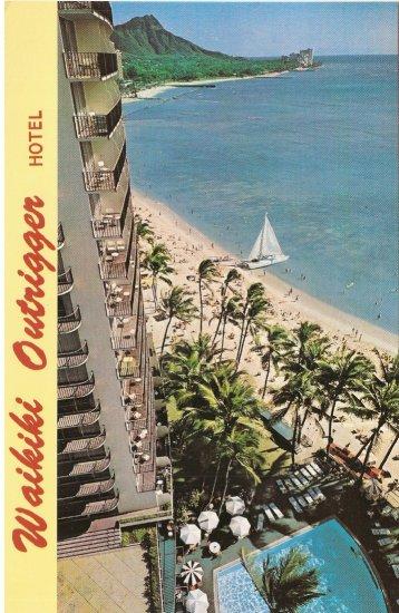 Waikiki Outrigger Hotel sailboat Honolulu beach Hawaii vintage postcard