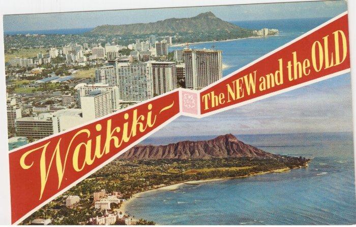 Waikiki New and Old Hawaii vintage postcard